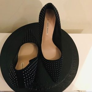 Zara Shoes - Zara Silver Studded Black Heels